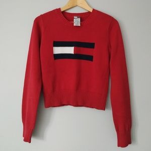 Tommy Hilfiger Red Cropped Sweater (fits medium)